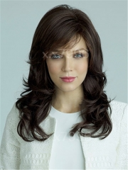Sexy Women's Fashion Medium Wavy Curly Synthetic Hair Cosplay Party Full Wigs + free wig cap sw0044 Brown Medium