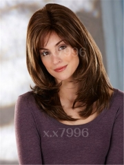 Ladies Medium Straight Synthetic Hair Women's Wigs Natural Brown Cosplay Party + free wig cap sw0066 Brown Medium