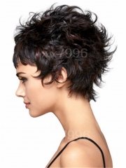 Women's Short Straight Hair Synthetic Full Wig Black Mix Brown Natural Cosplay Party + cap sw0073 Brown Medium