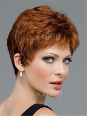 Fashion New Women's Short Straight Natural Brown Cosplay Party Full Hair Wig + free wig cap sw0086 Brown Medium
