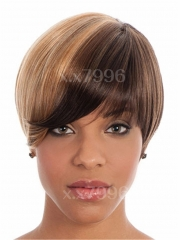 Fashion New Women's Short Straight Natural Layered Cosplay Party Full Hair Wig + free wig cap sw0155 Brown Medium