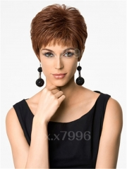 Women's Short Straight Wigs Heat Resistant Natural Brown Hair Cosplay Party + free wig cap sw0076 Brown Medium