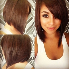 Lady Short Straight Bob Synthetic Hair Heat Resistant Brown Women's Wigs + free wig cap sw8046-zs Brown Medium