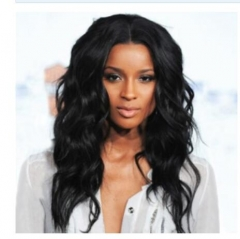 "20""  African American Synthetic Wig for Black Women Afro Long Wave Fake Hair Heat Resistant sw8180 black medium"