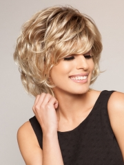 Ladies Short Curly Wave Synthetic Fake False Hair Heat Resistant Blonde Women's Wigs + cap sw8132 blonde brown medium