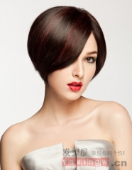 Lady Short Straight Bob Synthetic Hair Heat Resistant Red Brown Women's Wigs + free wig cap sw8240 red brown medium
