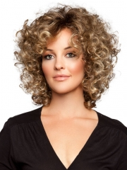 Virgin Short Curly Brown Hair Synthetic Cosplay Wigs for Black Women Heat Resistant + wig cap sw8260 brown medium