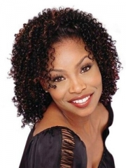Virgin Short Kinky Curly Synthetic Wigs for Black Women Brown Heat Resistant False Hair + cap sw8299 brown medium