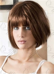 Lady Bob Heat Resistant Short Synthetic Wigs For Black Women Brown Wig Hair + free wig cap sw8494 brown medium