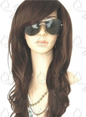 Long Wavy Brown Wig For African Americans Women With Long Side Bangs Synthetic Hair + wig cap sw8495 brown medium
