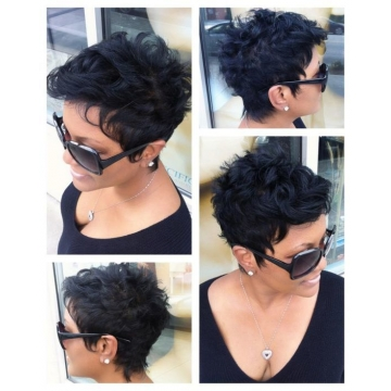 Short Curly Synthetic Wigs for Black Women Heat Resistant Black Hair Natural Cosplay + cap sw8738 black medium