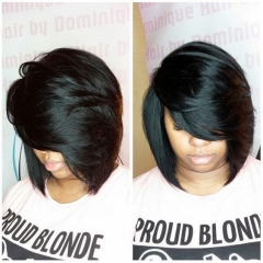 Short Straight Bob Synthetic Fake False Hair Heat Resistant Black Women's Wigs + free wig cap sw8764 brown medium