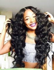 Long Wave Synthetic Wigs for Black Women Black Heat Resistant False Fake Hair + free wig cap sw8805 black medium