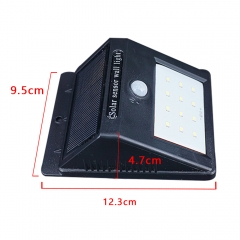 Waterproof Solar Powered Lamp 20 LED Outdoor Wall Light Sensor Motion For Garden Yard black 0.55W