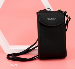 Women's large capacity mobile phone bag with one shoulder and multi-function long Lady's purse Black