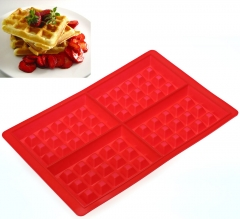 4 Cavities Waffles Heat-resistant Cake Chocolate Pan Baking non-sticky Silicone Mold Cooking Tools as the picture