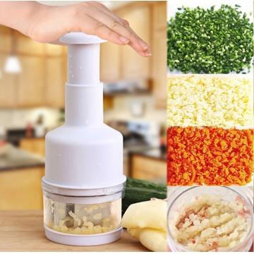Multifunctional Kitchen Pressing Onion Chopper Nut Herbs Cutter Slicer Fruit Vegetable Peeler white