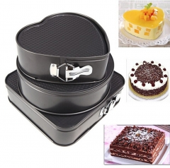 Cake mold 3set Non-stick Springform Cake Pan Bakeware Mould Removable Bottom Round Heart Shape black