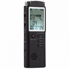 8GB 2 in 1 Professional Audio Voice Recorder with Real Time Display A Key lock Screen MP3 Player black