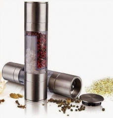 Stainless Steel Manual Salt and Pepper Mill 2 in 1 Manual Pepper Salt Spice Mill Grinder silver