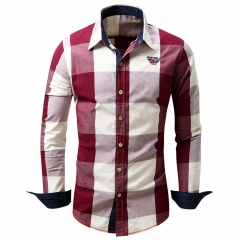 Turn-down Collar Plaid Pattern Long Sleeve Shirt for Men Red XL