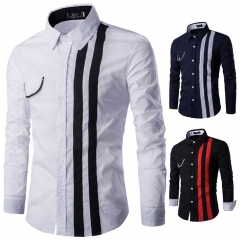 Casual Color Block Slim Fit Stripe Turn-down Collar Long Sleeve Shirt for Men white m
