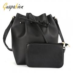 Guapabien Drawstring Shoulder Bucket Bag Clutch Pocket red one size
