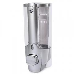 350ml Kitchen Bathroom Single Head Soap Dispenser with a Lock ABS Plastic Liquid Shampoo Vessel silver 350ml