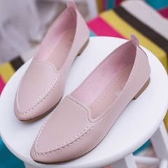 Buy one size larger than usual women's flat shoes round head shoes peas shoes ladies casual shallow mouth shoes Pink 40
