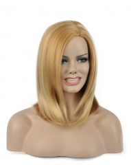 Synthetic Hair Hot Sale Midium-length Straight  Women's Wigs Blonde Blonde 35cm