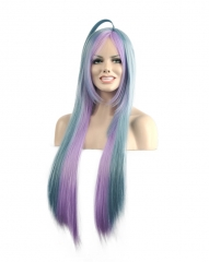 Sexy Women's Long Straight Blue Cosplay Hair Full Wigs Blue 80cm