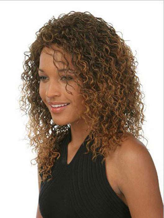 AGAPEON Synthetic Medium Curly Wig for Women Heat Resistant Fiber Wigs Golden Brown Medium Curly Wig