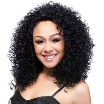 AGAPEON Synthetic Medium Curly Wig for Women Heat Resistant Fiber Wigs black medium curly wig
