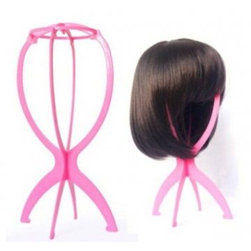 AGAPEON Folding Plastic Stable Holder for Synthetic Wigs Display Tool Hat Stand Pink 35cm