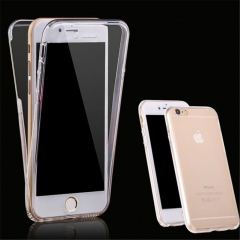 For Apple iPhone 6/6 Plus Soft Clear Transparent TPU Back Front Dual Cover Cell Phone Cases 4.7/5.5 transparent iphone6/6s 4.7〃