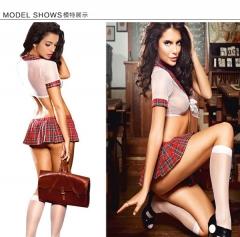 Women's Sexy Lingerie School Girl Uniform Cosplay Strappy necktie Bikini Lingerie Set SWISSANT® red one size