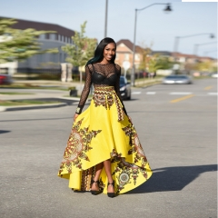 Women's African Floral Print High Waist Party Long Skirt African Traditional Dress SWISSANT® GOLDEN s