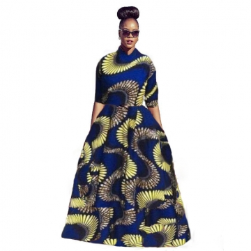 Women's Fashion African Print A -Line Maxi Dress Print Dress SWISSANT® as picture m