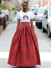 Dearlovers Women African Floral Print Casual A Line Maxi Skirt SWISSANT® multicolored 01 s