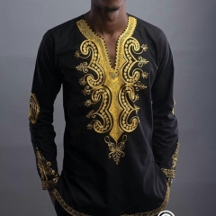 Men's African Dashiki Autumn Fashion Print Sleeve T Shirt SWISSANT® as picture l