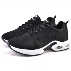 Air cushion sport shoes Mesh upper sneakers black uk5
