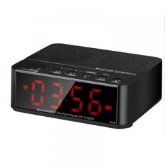 Outdoor portable wireless bluetooth speaker with LED digital clock black one size