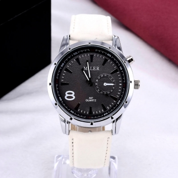Men's pu Leather Sports Quartz Fashion Watch New Style leisure Wristwatch Round Dial white as picture
