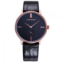 CHRONOS Brand Fashion Wrist watch Men Watch Leather Luxury Men's Waterproof Watch black and black as picture