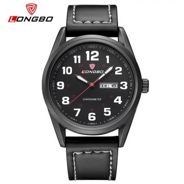 LONGBO Watch Men Watch Fashion Sport Wrist watches Auto Date Waterproof Men's Watch black as picture