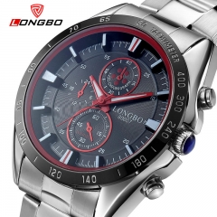 Fashion Luxury Sport Watch LONGBO Brand Waterproof Full Steel Quartz Men Luminous Military Watches silver and black as picture