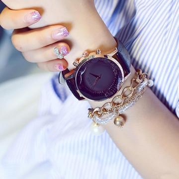 GUOU Luxury Diamond Watch Women Watches Genuine Leather Ladies Watch Glitter Women's Watches black