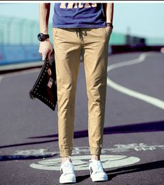 Boys' close legged casual pants, sports leggings, men's Harem Pants eggings and Capris Trousers Khaki L