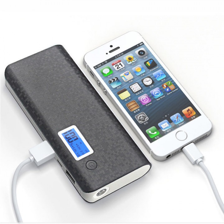 20000mAh Dual USB Power Bank LCD LED Mobile Phone External Battery Charger Black 20000mAh