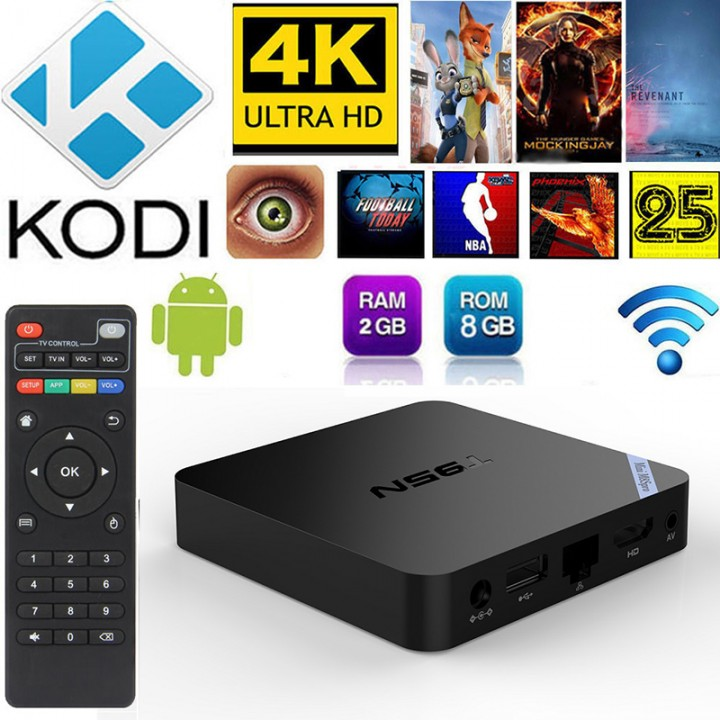 T95N S905 4K Android 5.1 Smart TV BOX Quad Core KODI M8S Pro WIFI 2G/8G  EU Plug DEFAULT DEFAULT